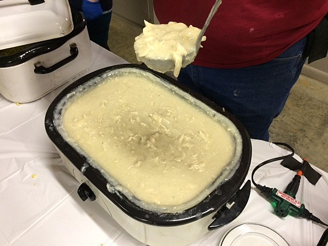 Volunteeers cooked up over 300 pounds of delicious chicken and biscuits for the benefit luncheon