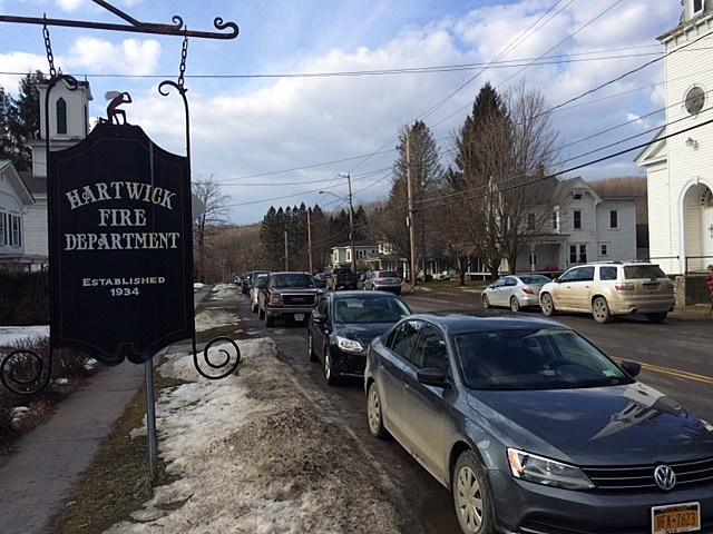 A parking spot along Hartiwick's main street was the hardest thing to find on Sunday!