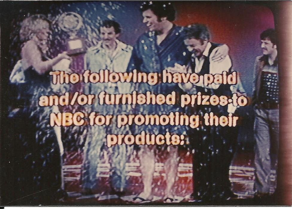 As the final credits roll, the other contestants came out to congratulate me, and Jerry Maren (one of the Lollipop Guild kids in the Wizard of Oz) gave me my winner's check.  The hostess can be seen coming across the stage to give me my Gong Show trophy WHICH I STILL HAVE IN MY LIVING ROOM AT HOME!